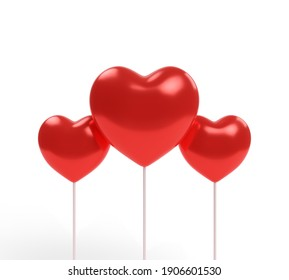 Three red heart isolated on a white background. 3d illustration.