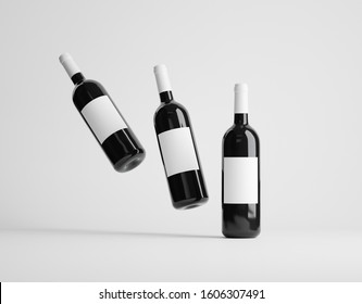 Three red wine bottles mockup over white background. 3D render
