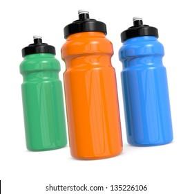 three reusable water bottles on white (3d render)