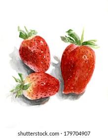 three of ripe strawberries