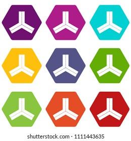 Three roads icon set many color hexahedron isolated on white illustration