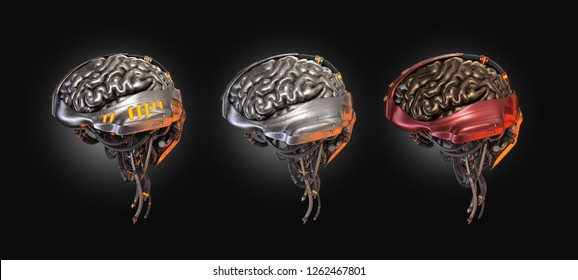 Three robotic brain organs in different metal coloring, 3d illustration on dark background