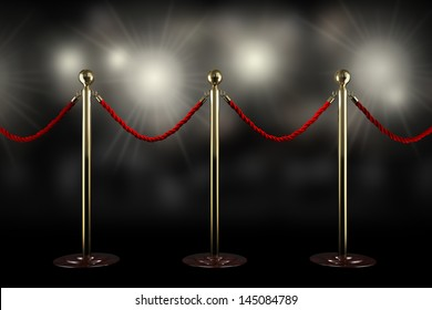 Three rope barrier and red velvet cord with flash light