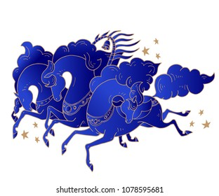 Three Russian horses with stars in rusian style. Troika galloping horses in blue color on black background. For creation of greeting cards, posters, banners, printing of souvenirs, T-shirt design
