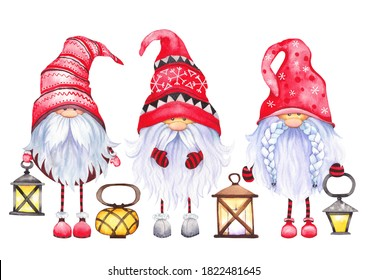 Three Scandinavian Christmas Gnomes with lanterns. Watercolor illustration on white background.