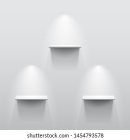 Three shelves on the wall with light and shadow in empty white room