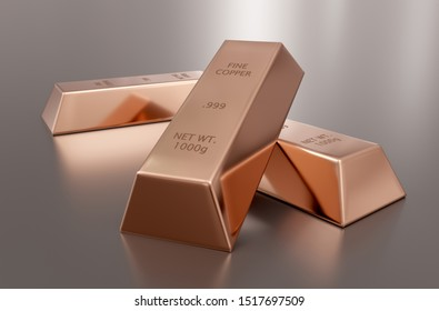 Three shiny copper ingots or bars over reflective silver background - essential electronics production metal or money investment concept, 3D illustration