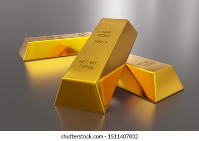 Three shiny gold ingots or bars over silver metallic background - precious metal or money investment concept, 3D illustration