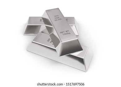 Three shiny silver ingots or bars over white background - precious metal or money investment concept, 3D illustration