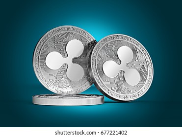 Three silver Ripple coins (XRP) concept stacked together on a gently lit cyan background. 3D render. (new virtual money)