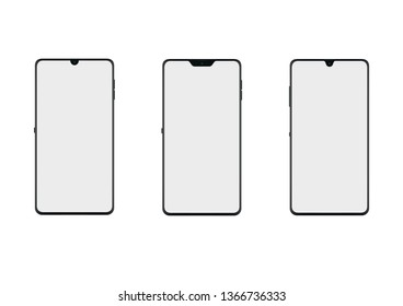 three smartphones with notch mockup