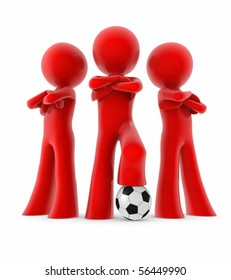 three soccer players and a ball; men standing with their arms crossed; mini team
