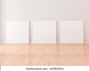 Three Square white Canvases Mockup stand on wooden floor in empty room, 3d rendering