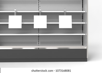 Three square wobblers on the rack shelf. 3d illustration. 3d rendering. Mockup.