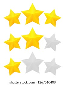 Three star rating. Different ranks from one to three stars. Golden embossed and gray transparent stars.