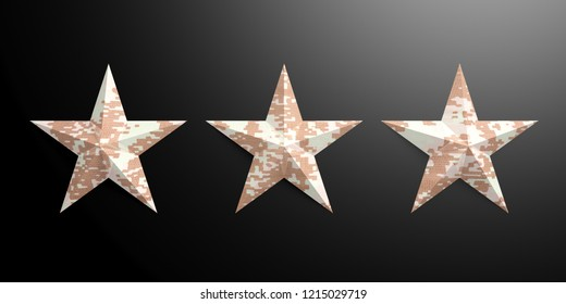 Three stars with American military pattern isolated on black background. 3d illustration