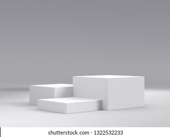 Three Steps Cube Podium. White Platform Or Backdrop With Empty Space For Display. Web Pages Template For Vizualising Products. 3D rendering