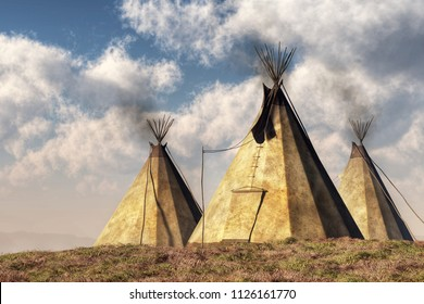 Three teepees (also called tipis or tepees) which are Native American tents, stand on a grassy hill in the plains of the American west. 3D Rendering