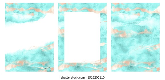 Three template set. Trendy neon biscay color 2020. Abstract green mint turquoise hand drawn watercolor premade cards. Textured teal splashes and metallic rose gold glitter texture backdrop