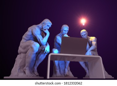 Three thinkers with a computer and one of them has a glowing light bulb above his head as a symbol of a new idea. 3D Illustration.