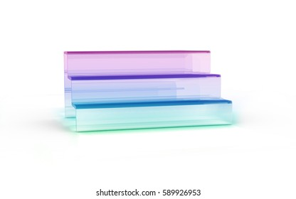 three tier with color glass of display stand by 3D rendering