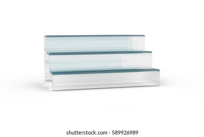 three tier with white glass of display stand by 3D rendering