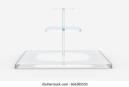 three tiers of square glass stand by 3D rendering
