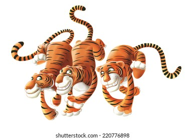 Three tigers cartoons