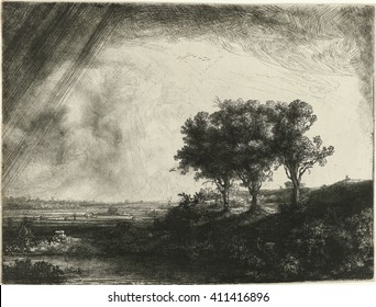 The Three Trees, by Rembrandt van Rijn, 1643, Dutch print, etching with drypoint and engraving on paper. He included figures in the landscape: an artist sketching on the hill at right, a fisher coupl
