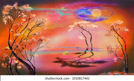 Three trees on surreal red background