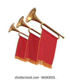 Three trumpets with a red flags pennants banners.