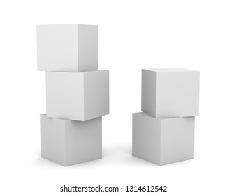 Three And Two Blank White Cubes. Stacked Boxes Mockup.  3d render