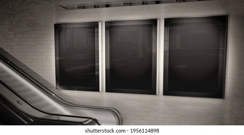 Three vertical billboards glowing on underground wall Mockup. Hoardings advertising triptych on subway wall interior 3D rendering
