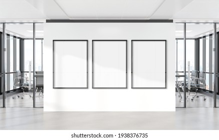 Three vertical frames Mockup hanging on office wall. Mock up of billboards in modern concrete company interior 3D rendering