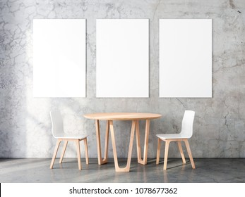 Three Vertical Posters Mockup with Two wooden chairs and table in empty room. 3d rendering