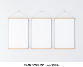 Three Vertical Roll up Posters Mockup hanging on the wall, 3d rendering