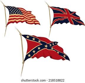 Three waving the old flag. USA, UK, Confederation