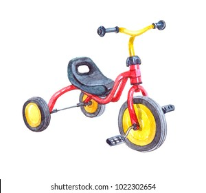 Three wheels child bicycle. Watercolor illustration isolated on white background.