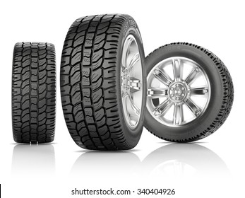 three wheels with new tires isolated on a white background