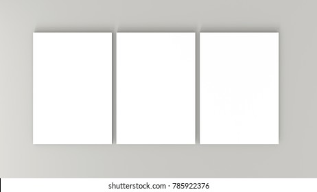 Three white A4 paper sheets on gray background. High resolution 3d render. Personal branding mockup template. Soft shadow. Top view.