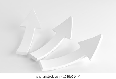 Three white arrows laying down on white background. 3d rendering