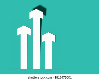 Three white arrows pointing upwards isolated on teal blue background; paper arrows background; creative business growth template; top view; copy space; 3D rendering, 3D illustration