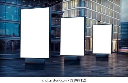 three white billboard advertising on street 3d rendering