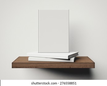 Three white books on a brown shelf. 3d rendering