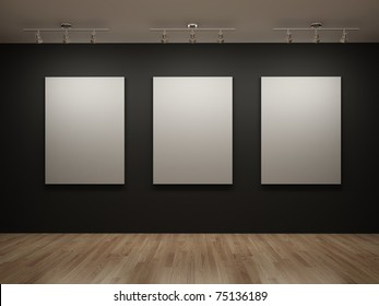 Three white canvas on a black wall in the gallery