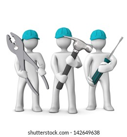 Three white cartoon characters with blue helmets and tools in the hands. White background.