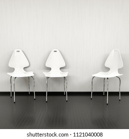 three white chairs at a wall with space for your content 3d illustration