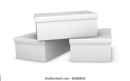 three white closed shoe boxes (3d render)