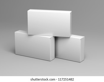 three white empty box template for medical drugs without texture on gray background for design