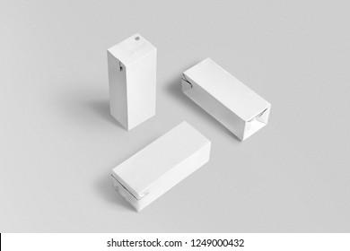 Three White Juices Box. 3D rendering